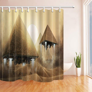 Egyptians Shower Curtains Pyramid Like Aircraft at Sunset Polyester Fabric Waterproof Bathroom Bath Curtain Shower Curtain