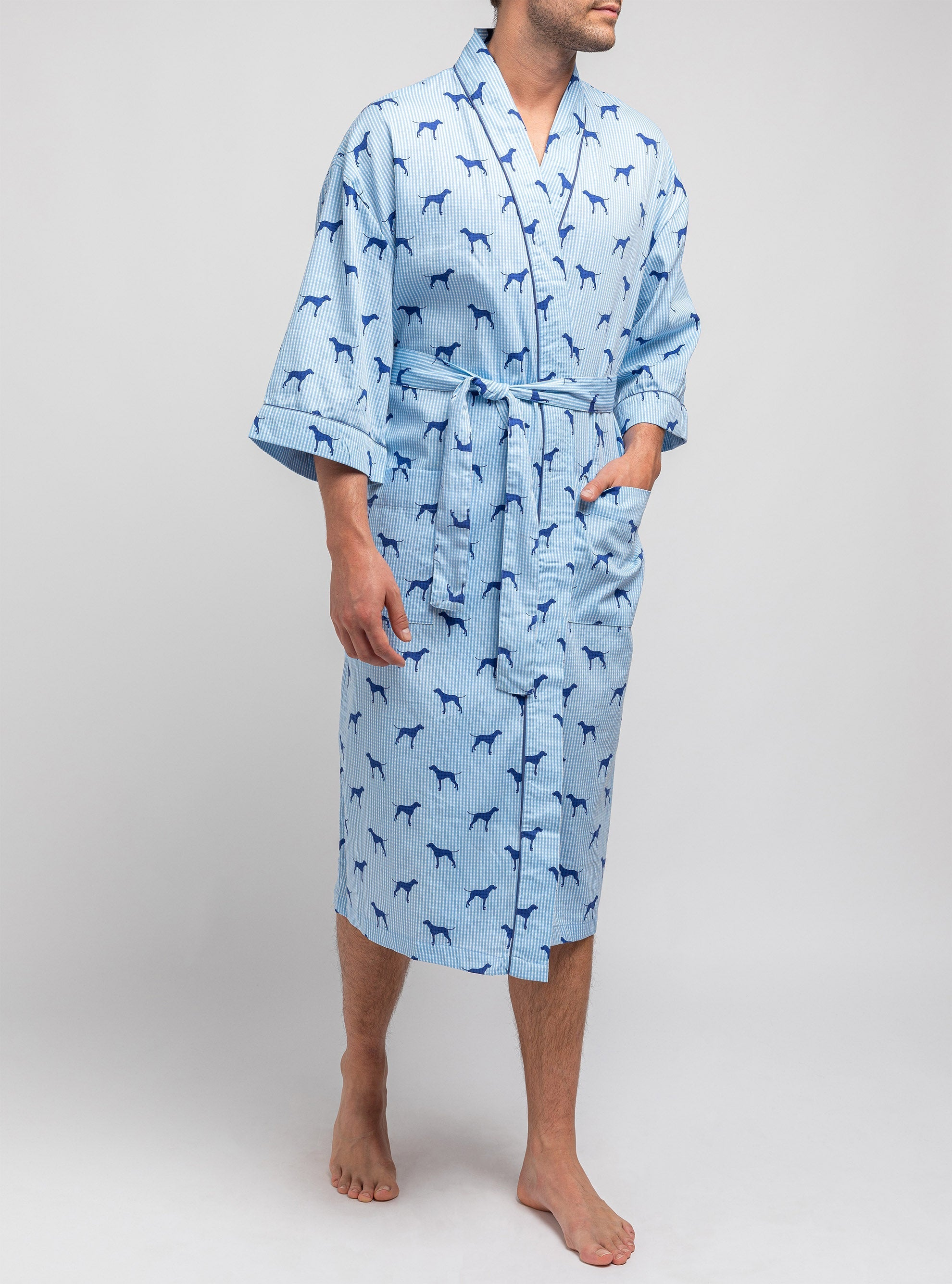 Navy bathrobe with dog motifs