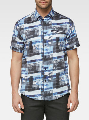 Short sleeve botanical bloc photo printed shirts