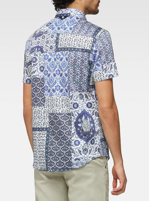 Short sleeve patchwork printed shirt