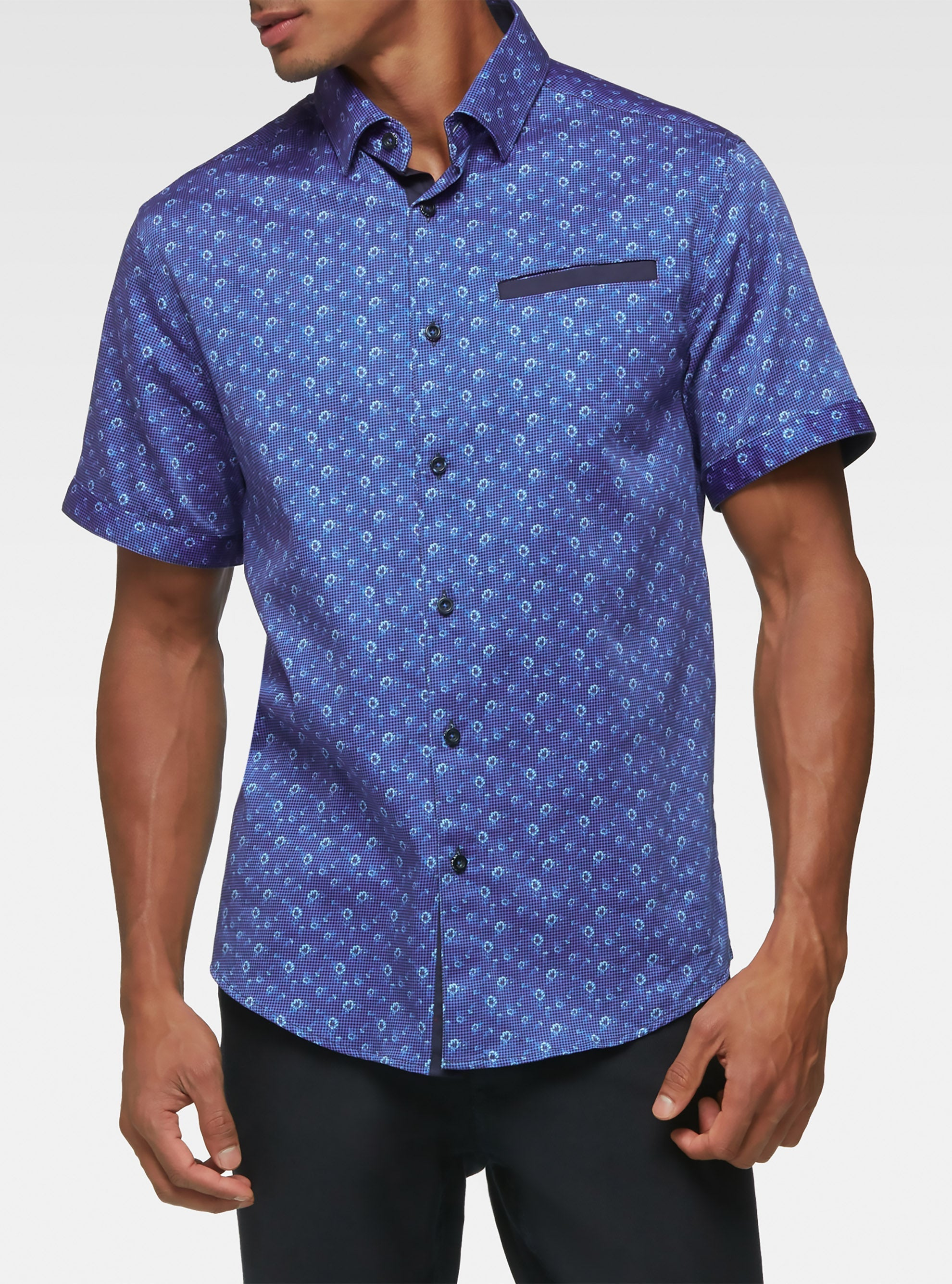 Short sleeve gingham floral printed shirts