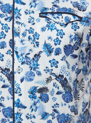 Short sleeve vintage floral printed shirt