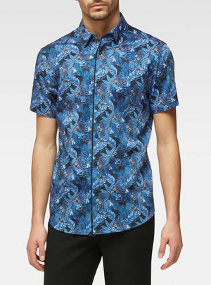 Short sleeve tropical leaves printed shirt