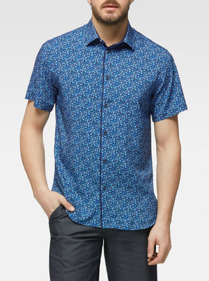 Short sleeve mini floral printed shirt