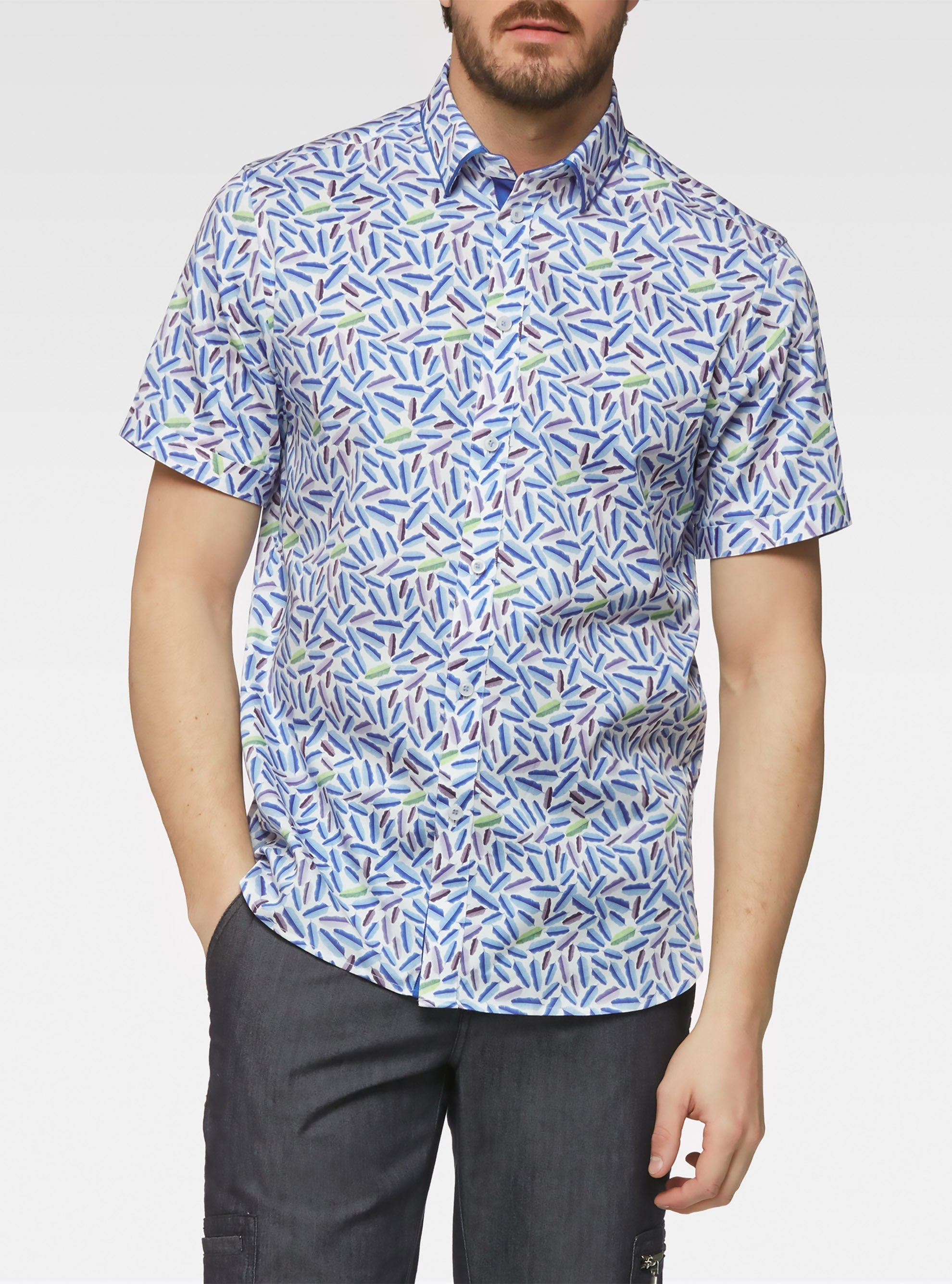 Short sleeve banana leaf printed shirts