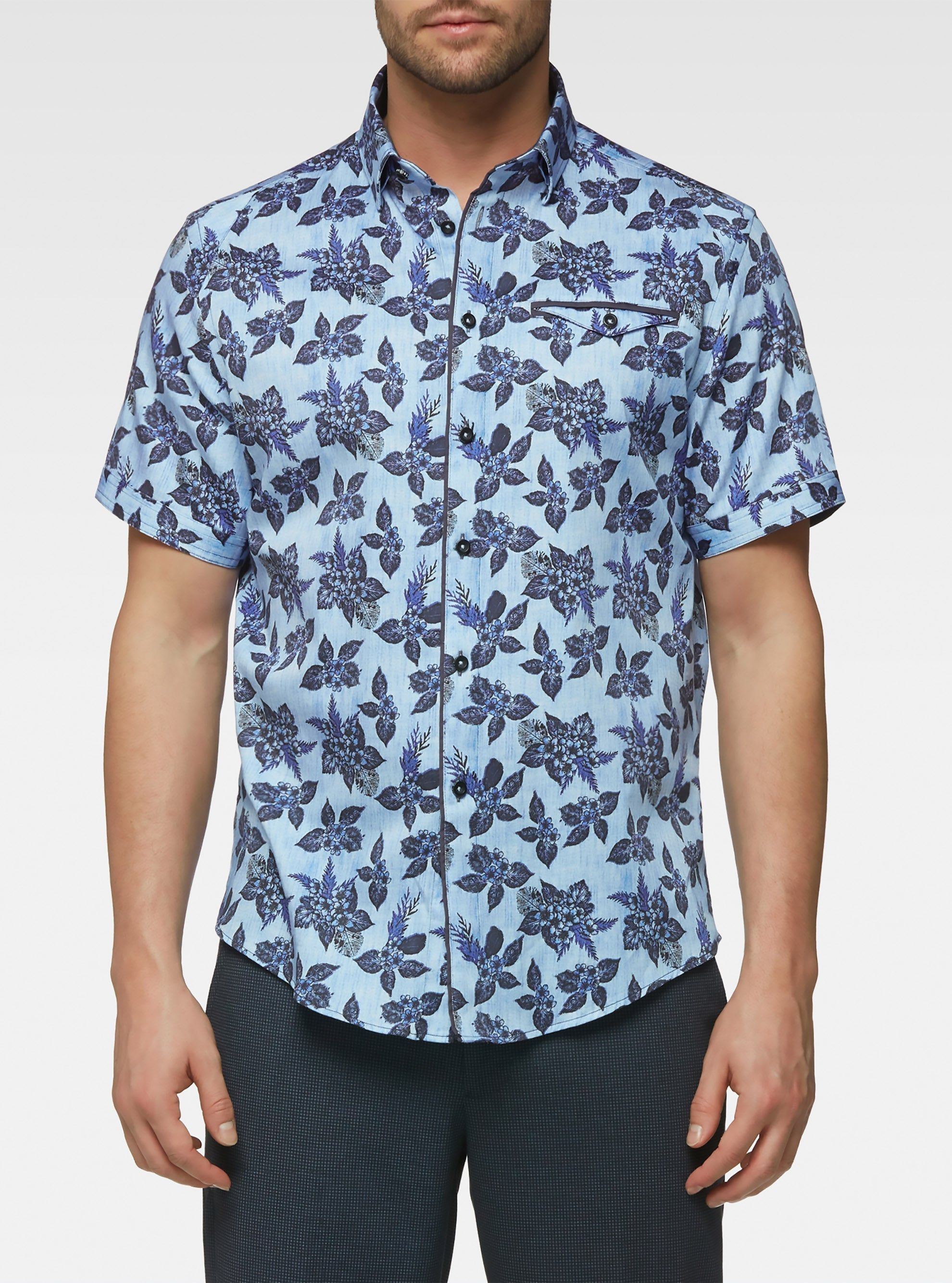 Short sleeve vintage floral printed shirts