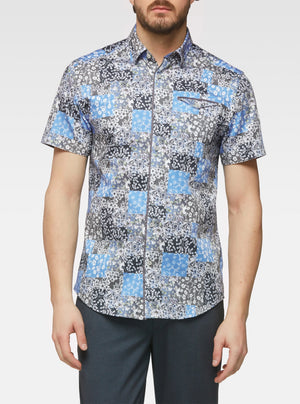 Short sleeve patchwork floral printed shirt