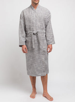 Grey bathrobe with frosty fabric