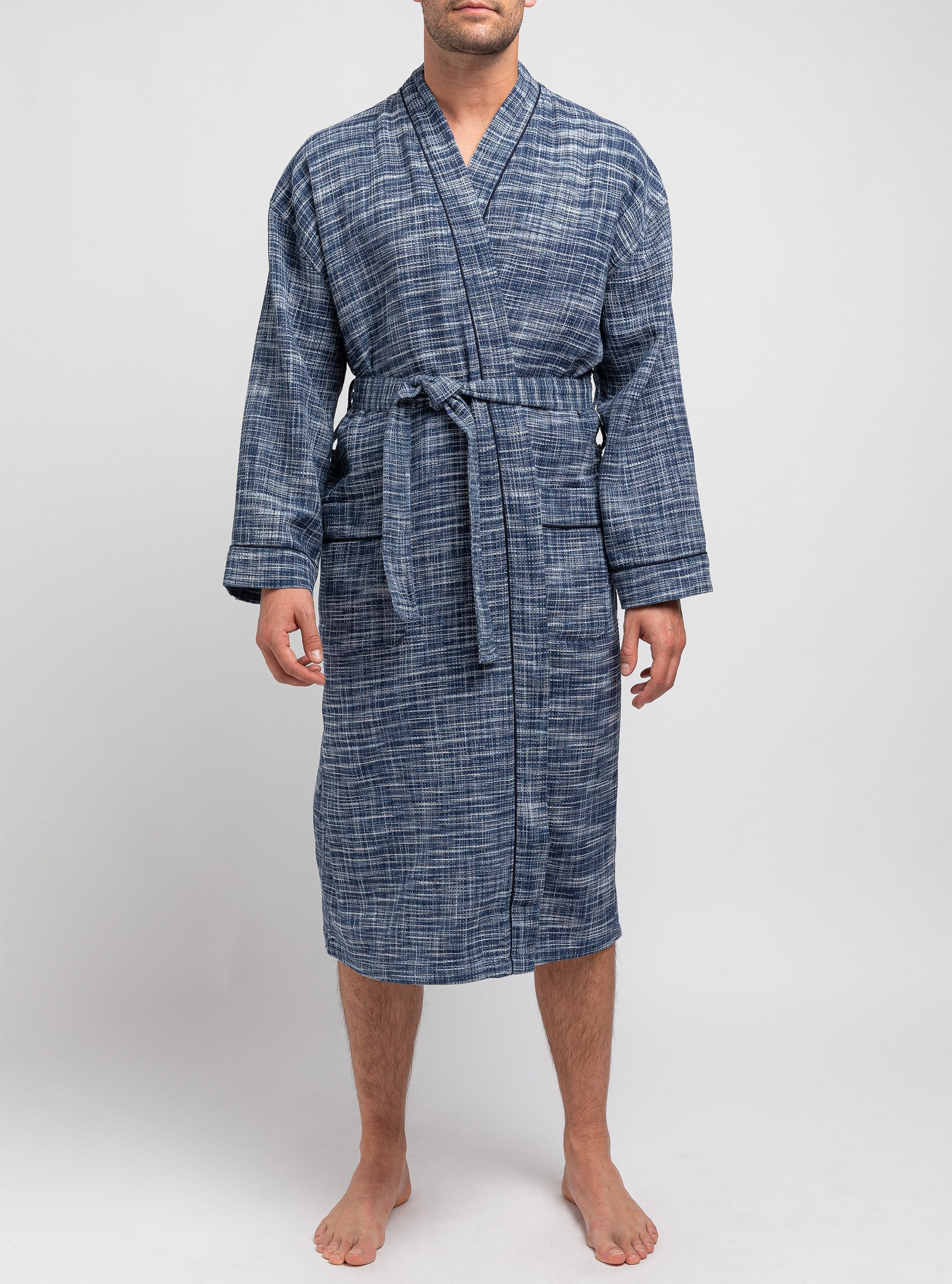 Navy bathrobe with frosty fabric