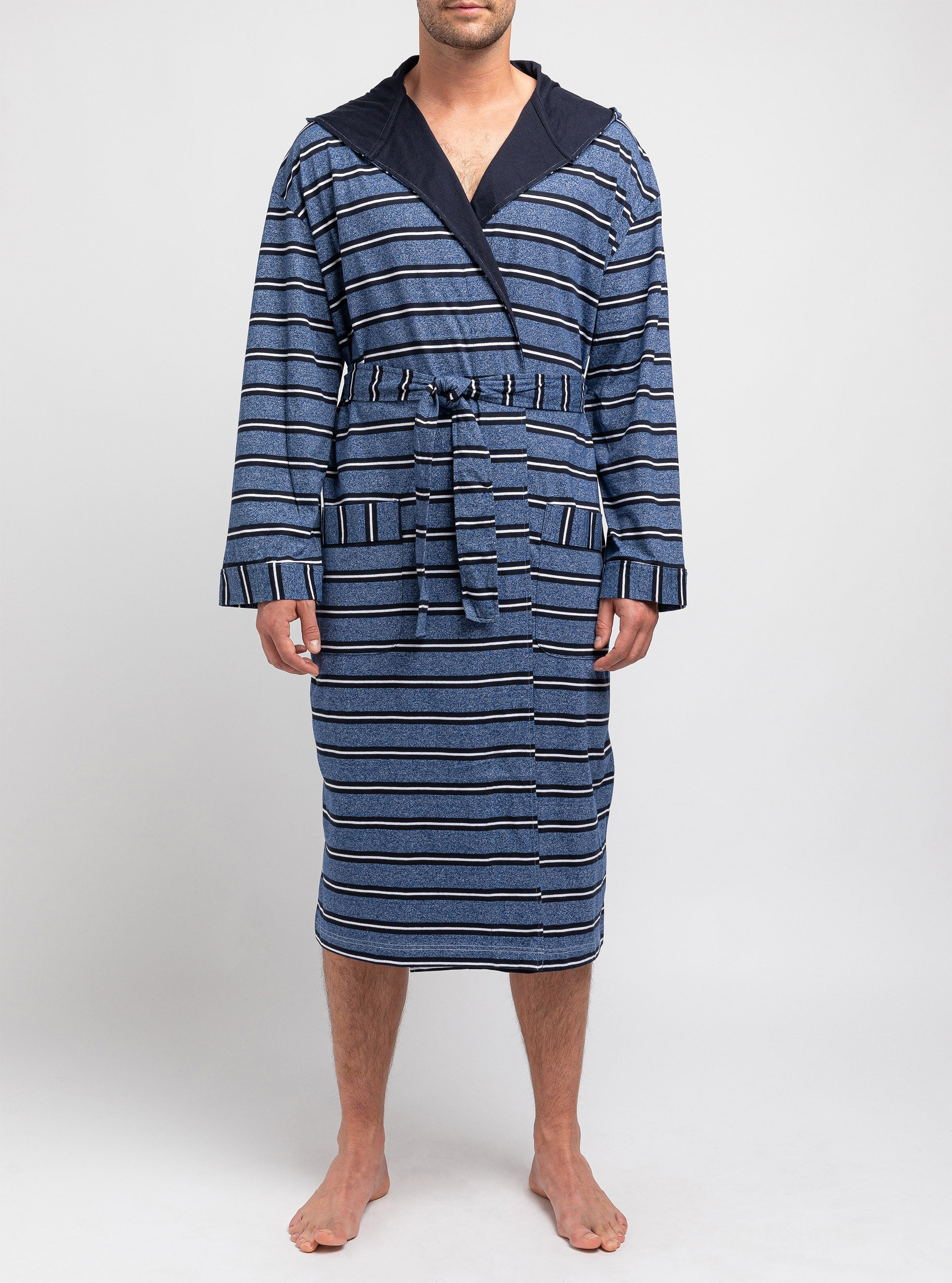 Striped hooded dressing gown