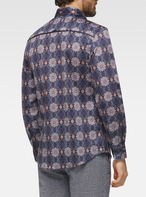Long sleeve ottoman arabesque printed shirt