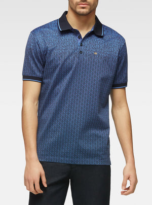 Short sleeve mercerized polo with engineered gradient navy