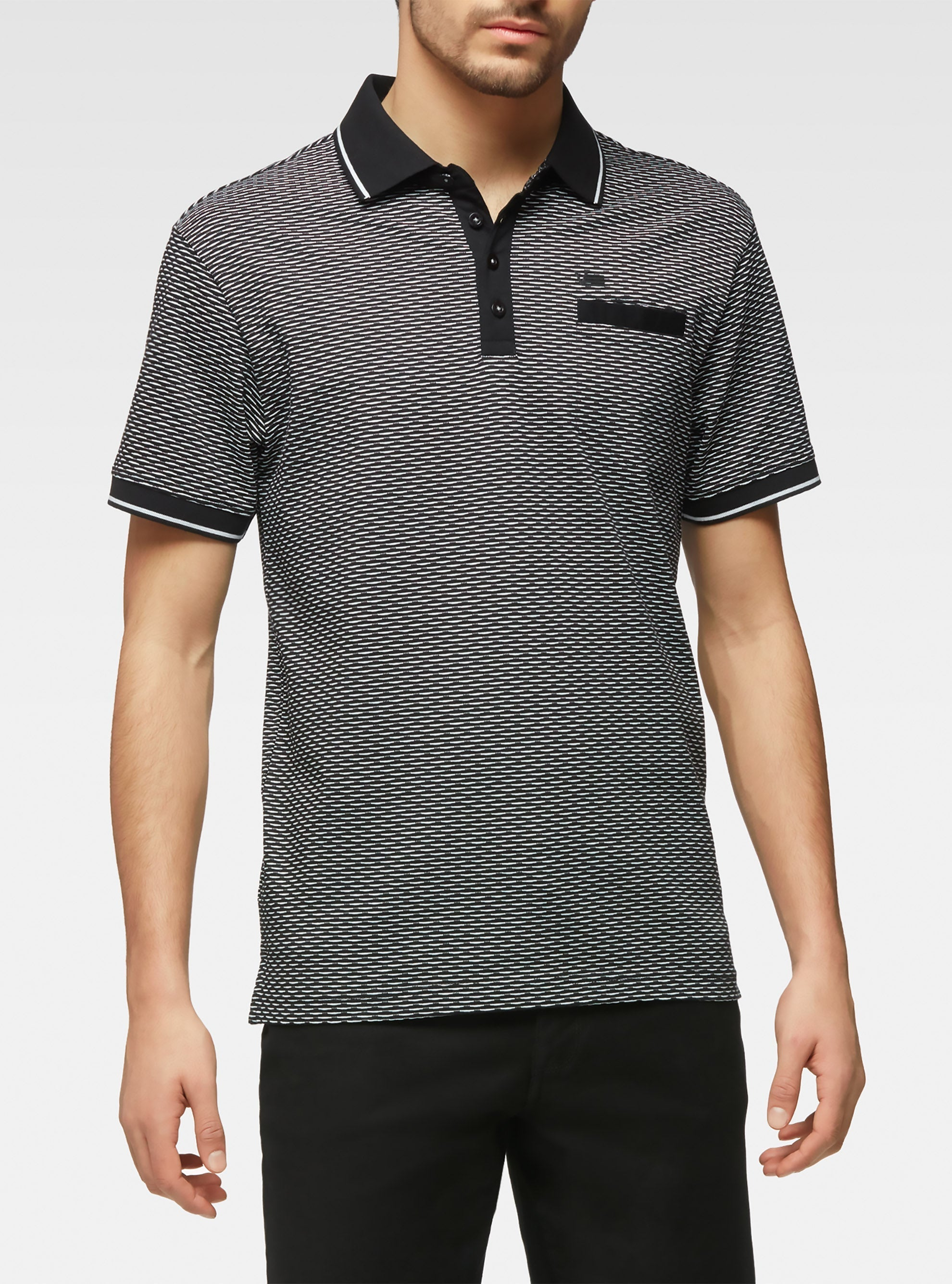 Short-sleeved polo shirt with mosaic diamond pattern black