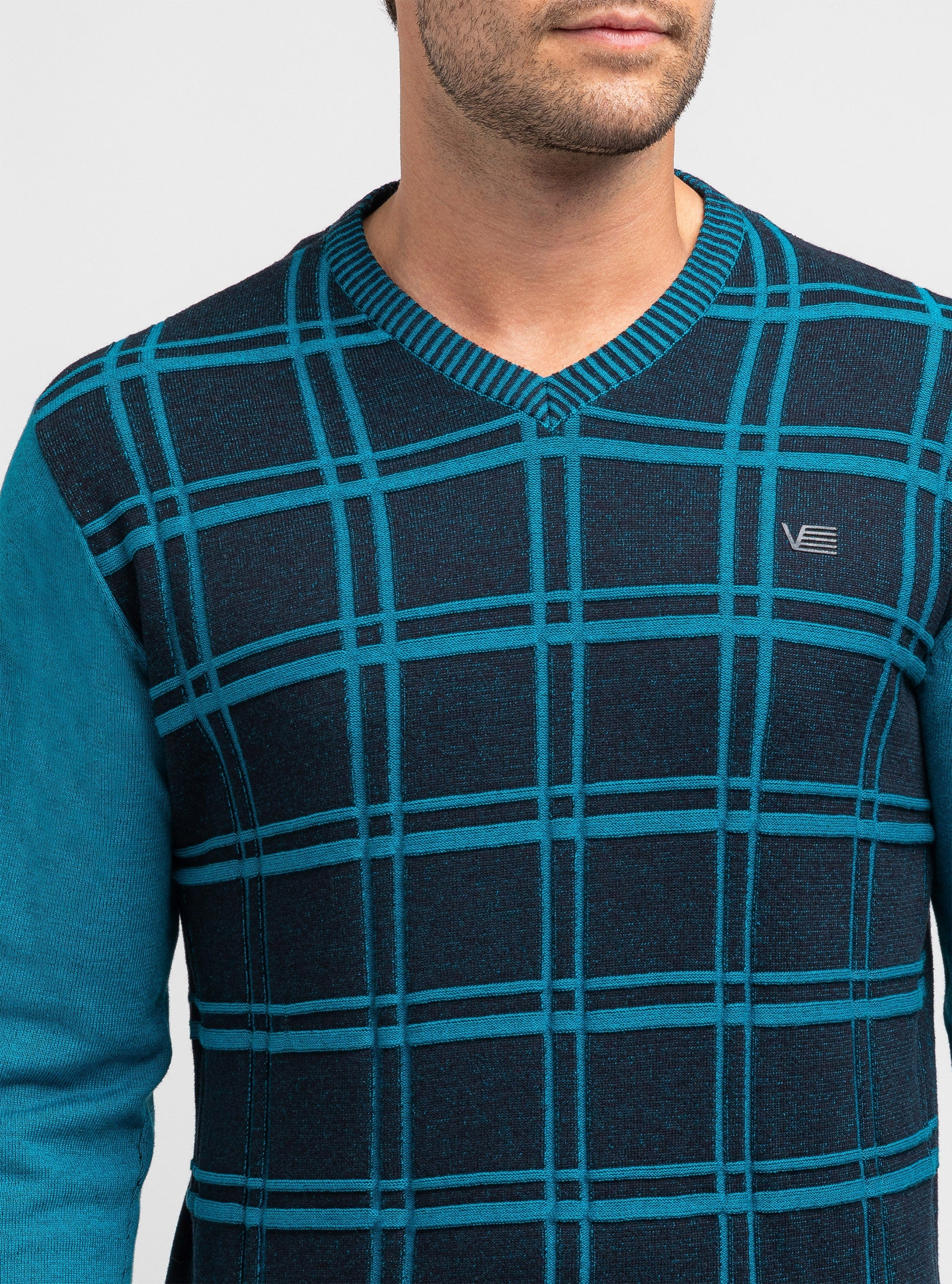 Jumper with checked jacquard