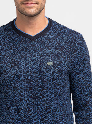 Navy V-neck sweater with small patterns