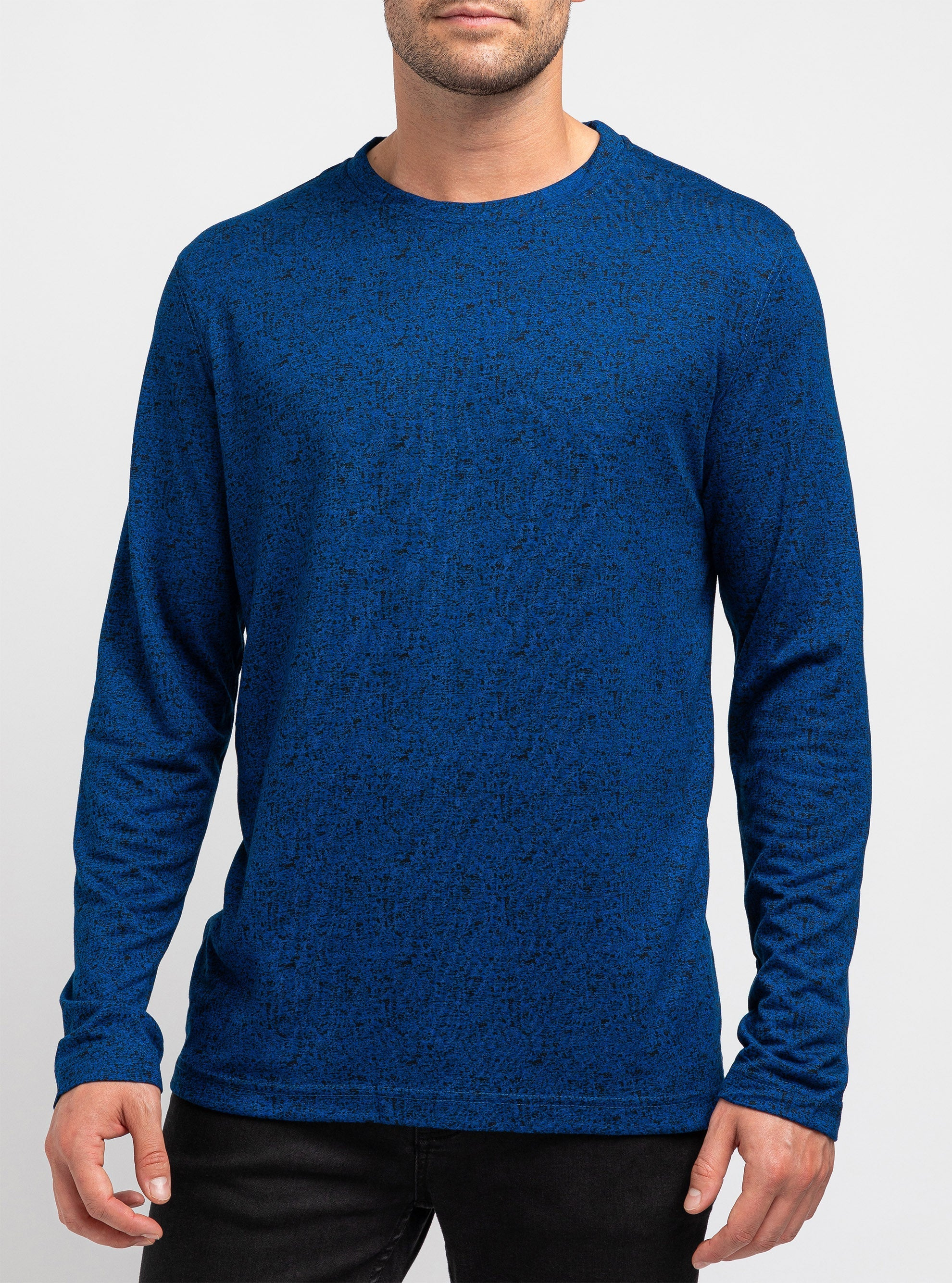 Blue space dyed high-neck sweater