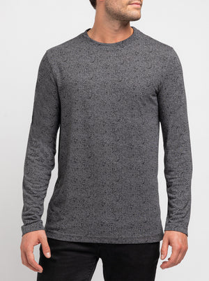 Grey space dyed high-neck sweater