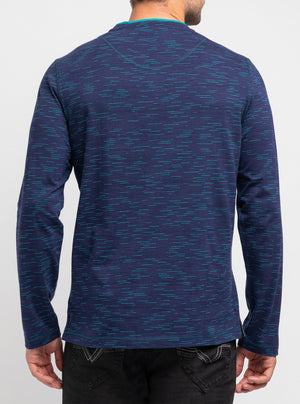 Navy space dyed henley collar sweater