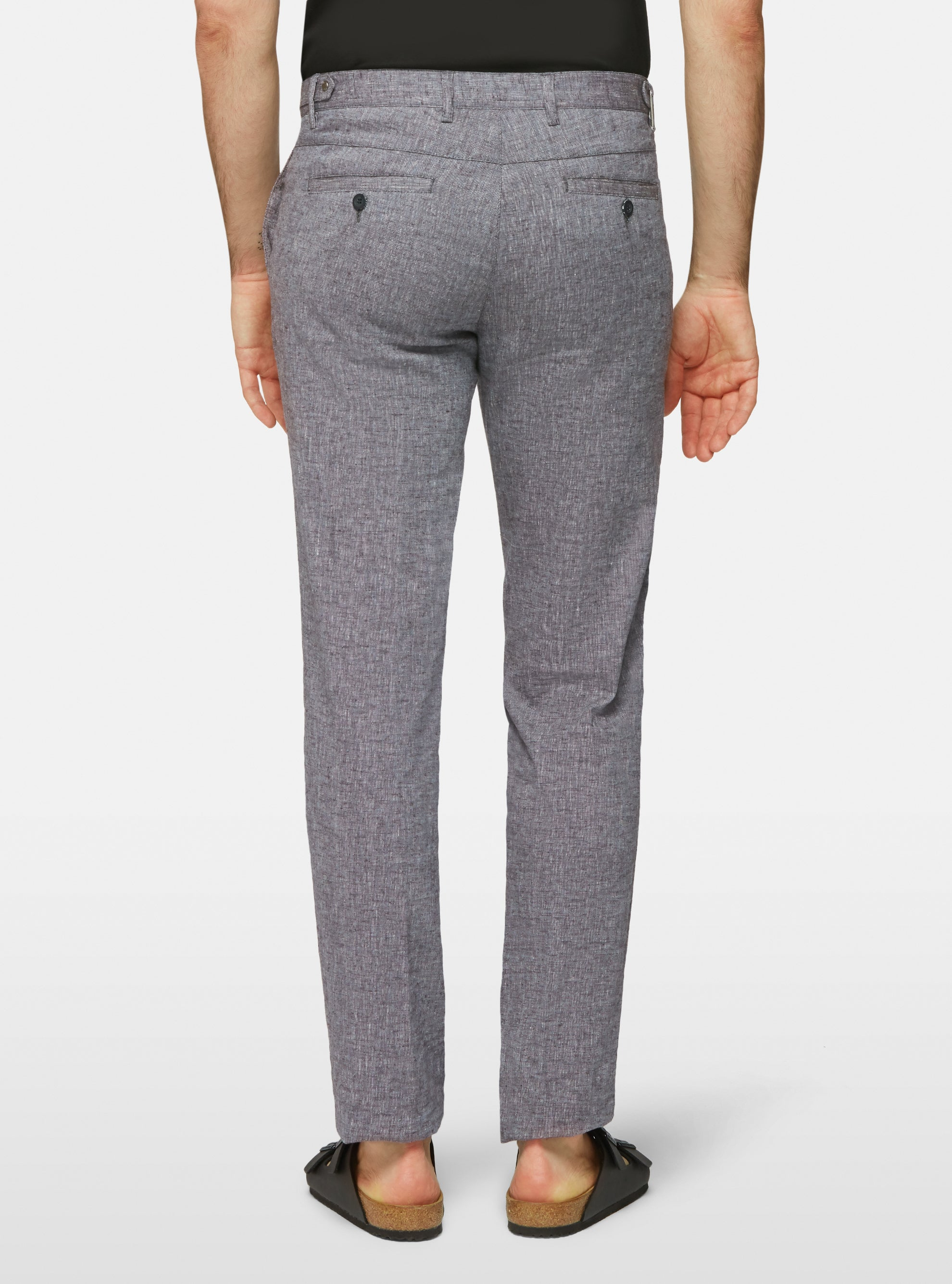 Two tone stretch linen pant