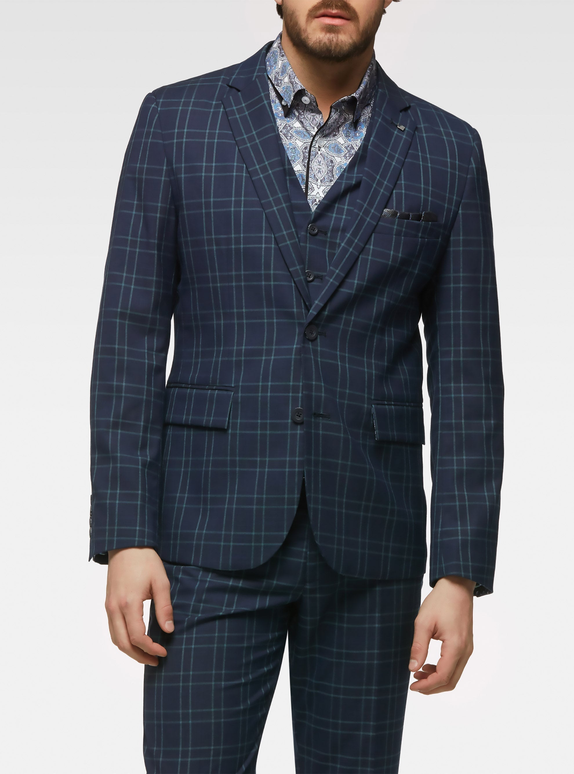 Tailored stretch plaid sport jacket with removable vest