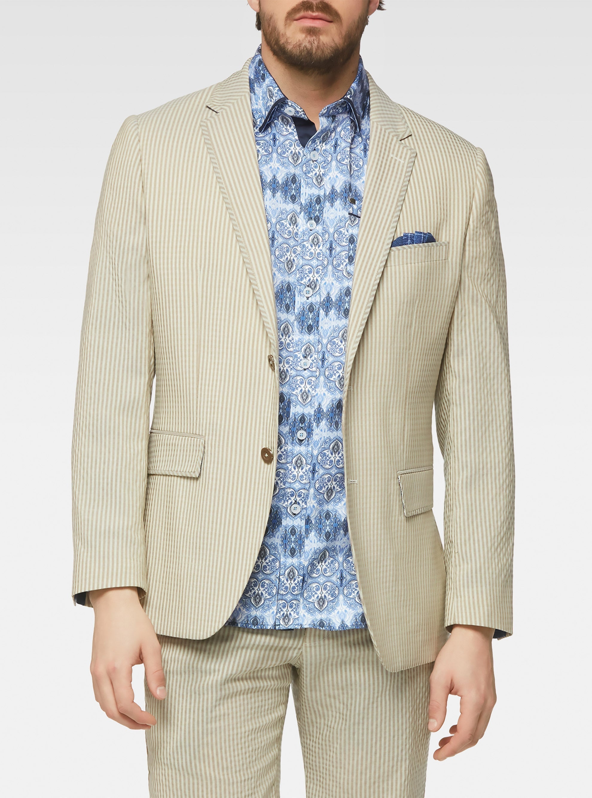 Stretch tonal gingham tailored sport jacket