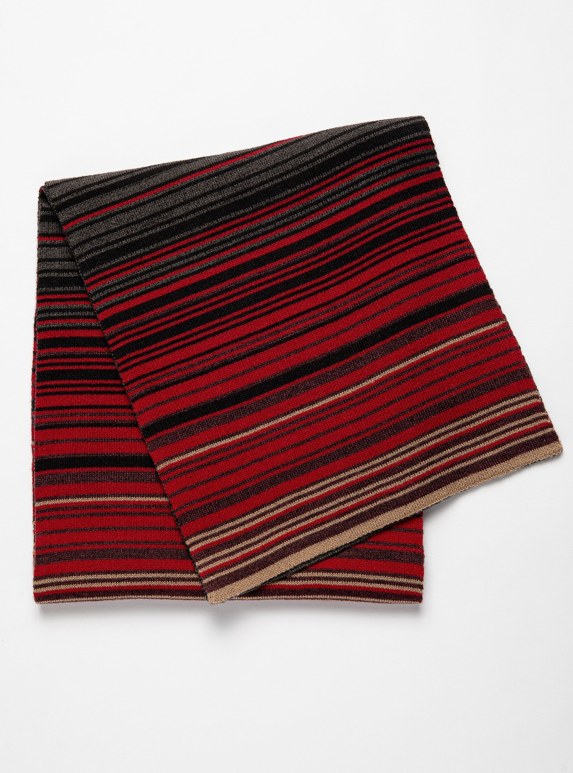 Vertical multi color stripe charcoal and red scarf
