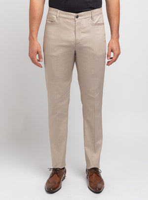 Beige textured Stretch Weave Pants