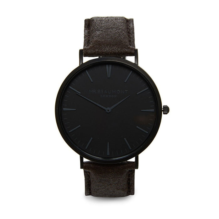 Mr Beaumont Engraved Vegan Watch Black Face