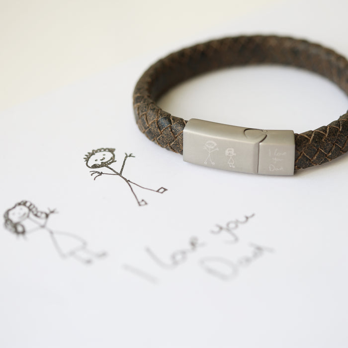 Handwriting Engraved Antique Style Bracelet - Rustic