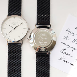 Handwriting Engraving - Men's Architect Zephyr + Pitch Black Mesh Strap - Wear We Met
