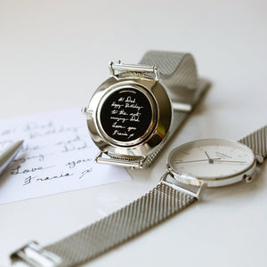 Handwriting Engraving - Men's Architect Zephyr + Steel Silver Mesh Strap - Wear We Met