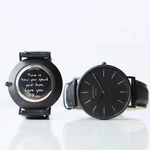 Handwriting Engraving - Men's Minimalist Watch + Jet Black Strap - Wear We Met