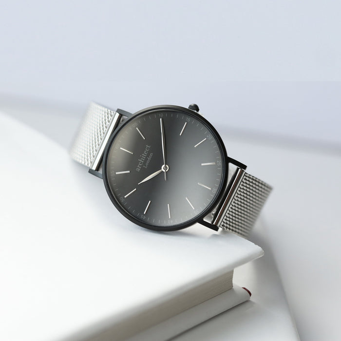 Modern Font Engraving - Men's Minimalist Watch + Steel Silver Mesh Strap
