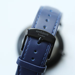 Handwriting Engraving - Men's Minimalist Watch + Admiral Blue Strap - Wear We Met