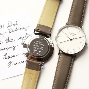 Handwriting Engraving - Men's Architect Zephyr + Urban Grey Strap - Wear We Met
