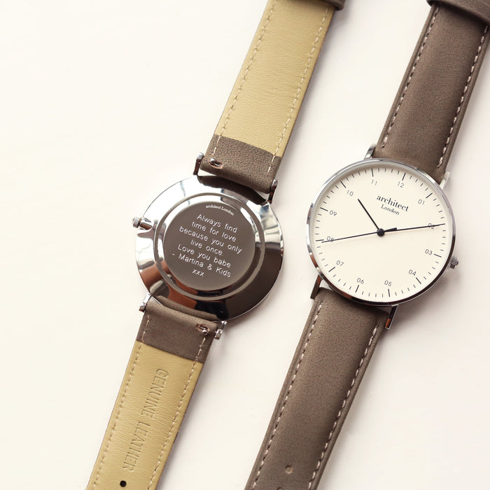 Modern Font Engraving - Men's Architect Zephyr + Urban Grey Strap