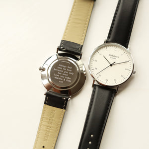 Modern Font Engraving - Men's Architect Zephyr + Jet Black Strap - Wear We Met