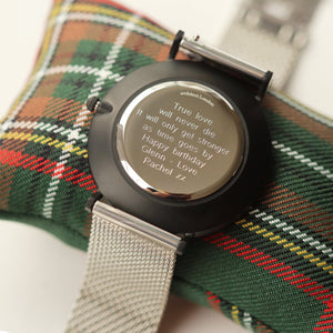 Modern Font Engraving - Men's Minimalist Watch + Steel Silver Mesh Strap - Wear We Met