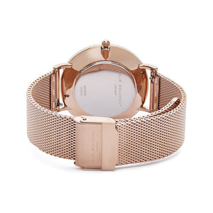 Own Handwriting Engraved Elie Beaumont Ladies Watch Rose Gold White Dial - Wear We Met