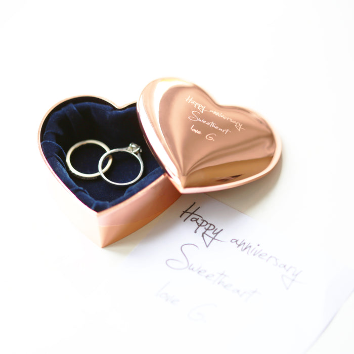 Rose Gold Heart Keepsake With Own Handwriting