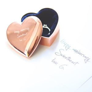 Rose Gold Heart Keepsake With Own Handwriting - Wear We Met