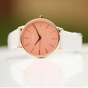 Ladies Architēct Coral - Modern Font Engraving + White Strap - Wear We Met