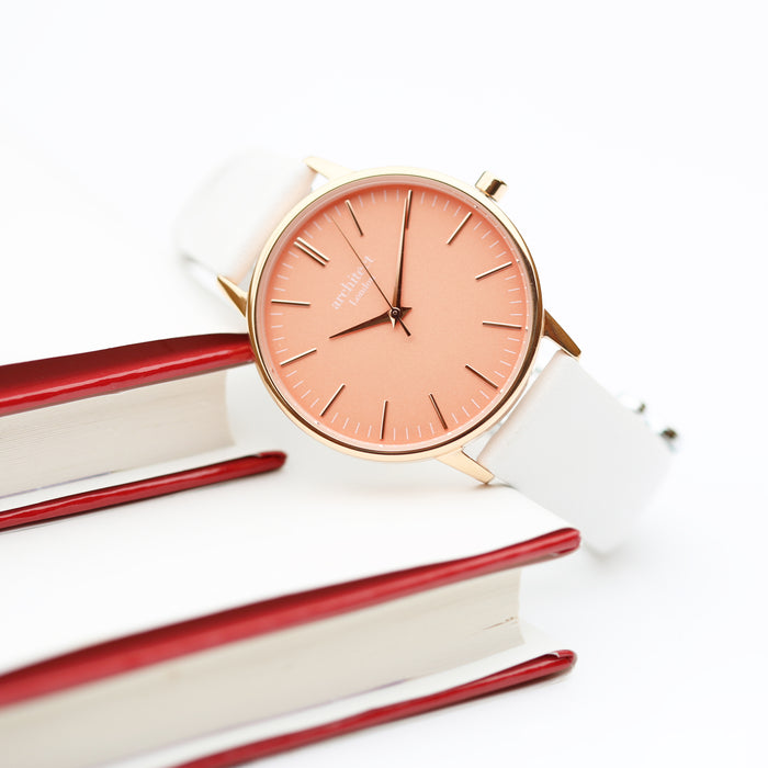 Ladies Architēct Coral - Modern Font Engraving + White Strap