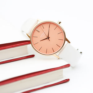 Ladies Architēct Coral - Handwriting Engraving + White Strap - Wear We Met