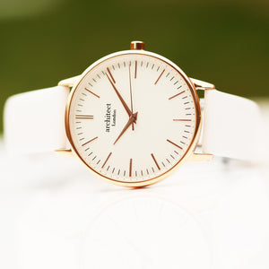 Ladies Architēct Blanc - Modern Font Engraving + White Strap - Wear We Met