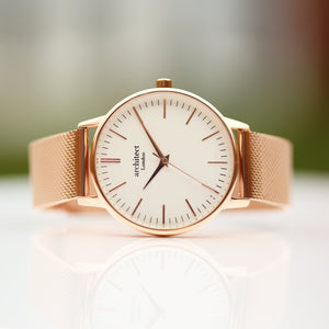 Ladies Architēct Blanc - Modern Font Engraving + Rose Gold Mesh Strap - Wear We Met