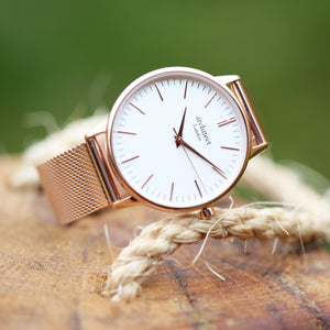 Ladies Architēct Blanc - Handwriting Engraving + Rose Gold Mesh Strap - Wear We Met