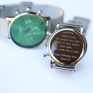 Men's Architect Motivator In Envy Green With Silver Mesh Strap - Modern Font Engraving - Wear We Met