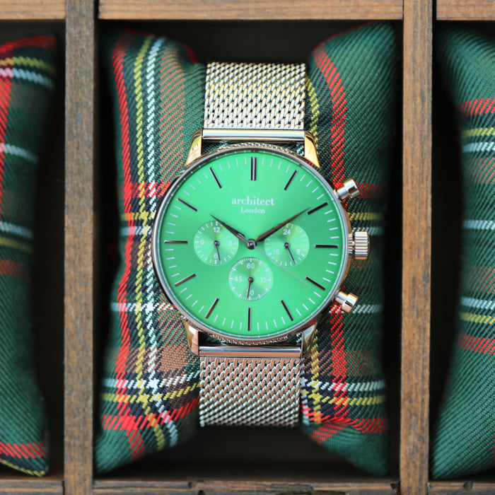 Men's Architect Motivator In Envy Green With Silver Mesh Strap - Modern Font Engraving