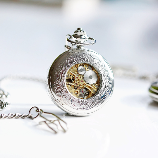 Personalised Roman Skeleton Pocket Watch